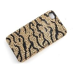 Topaz Brown Black Asian Tiger Stripes iPhone 4S 4 Case Swarovski Crystal Element