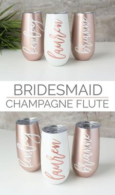 Wedding Gifts Diy ETSY These rose gold stemless wine glasses / champagne flutes with a lid personalized with the name of your choice are a unique bridesmaid gift and wedding keepsake or gift to a friend to keep your beverage cold. Wedding Favors And Gifts, Wedding Keepsakes, Bridesmaid Gifts Unique, Bridesmaid Bags, Bridesmaid Proposal, Bridesmaid Wine Glasses, Wedding Bridesmaids Gifts, Brides Maid Gifts, Personalized Bridesmaid Gifts