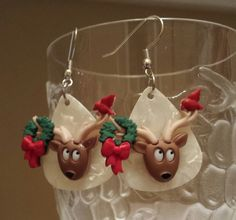 Guitar Pick Jewelry by Betsy's Jewelry - Earrings - Reindeer - Christmas Jewelry  - Holiday - Festive - Animal Styles by BetsysJewelry on Etsy