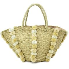 Your perfect beach tote made even better with the addition of whimsical pom poms and fully lined interior with drawstring pull to hold all your beach going necessities securely. This will be your favorite sunny day essenti...