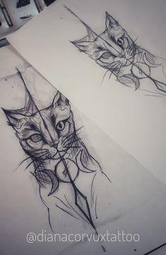 Cat Black Work By Diana Velásquez Whatsapp +573146091121 Medellin -Colombia  #tattoo #design #art #cat #blackwork #liner #linertattoo #cattattoo #arte #gatos #cats #