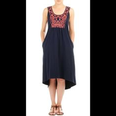 "New Eshakti Boho Navy Asymmetrical Knit Dress 22W New Eshakti boho navy asymmetrical hem a-line knit dress. Size 22 Measurements: underarm to underarm: 47"" Waist: 54""  Length: 46 ½ -50"" Eshakti size guide for 22W bust: 49"" Embroidered bib front into ruched pleating, A-line silhouette, side seam pockets. Yoked back w/ ruched pleating. Cotton/spandex, woven jersey knit, heavier mid-weight, no stretch. Machine wash. eshakti Dresses Asymmetrical"