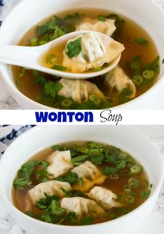 Wonton Soup Recipe – an easy homemade soup with an Asian inspired broth and soft and delicious wontons. Ready in 20 minutes and great for busy weeknights! More from my siteEgg Drop Soup Healthy Chicken Soup, Chicken Soup Recipes, Soups With Chicken Broth, Best Soup Recipes, Dinner Recipes, Kids Soup Recipes, Favorite Recipes, Wonton Soup Broth, Easy Homemade Soups