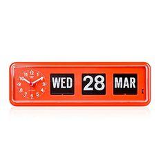 Retro Modern Twemco German Quartz Calendar Wall Flip Clock BQ 38 (Orange), AMAZON about $200