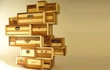 Eccentric Wooden Drawers Assembled from Local Lumber
