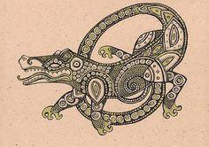 alligator template | Tribal Lizard Tattoo Posters Dancing Alligator by Lynnette Shelley