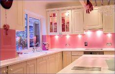 Pink Kitchen Design - Minimalist Home Design Pink Kitchen Cabinets, Kitchen Countertops, White Cabinets, Kitchen Backsplash, Cupboards, Backsplash Arabesque, Travertine Backsplash, White Counters, Beadboard Backsplash