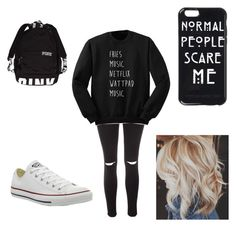 """""""Untitled #104"""" by a-hidden-secret ❤ liked on Polyvore featuring Glamorous and Converse"""