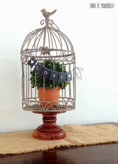 Boxwood Bird Cage with Mini Chalkboard Banner ($100 Giveaway