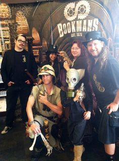 Helping promote the steampunk version of Around the World in 80 Days at Bookman's in Phoenix