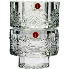 Iittala Kuusi Candle Holders Scandinavian Art Glass Crystal with Label