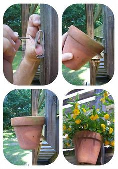How to hang clay pots...I think this would work well whether hanging on a fence, deck or even a tree similar to the one pinned on Hometalk Garden Board on Pinterest! (dead tree) You can do a search for clay pot hangers and come up with numerous places to purchase