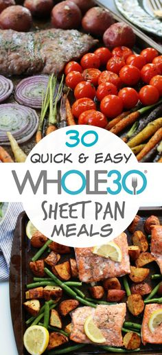 30 Whole30 sheet pan recipes so you spend less time cooking. Whole30 sheet pan meals that are easy meal prep, quick clean up, and family friendly healthy recipes. Includes Whole30 and Paleo sheet pan fish, chicken, beef and breakfast recipes. #whole30sheetpan #paleosheetpan #whole30dinnerrecipes via @paleobailey