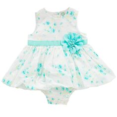 "Little Me Girls White/Aqua Floral Sleeveless Bodysuit Dress - Mamiye Brothers - Babies ""R"" Us"