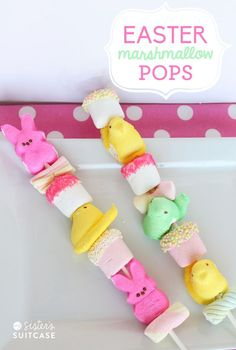 Adorable! Easter Marshmallow Peeps on a stick! Fun gift or Easter Basket treat.