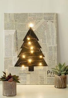 Geweldig idee voor Kerst - Diy Kerst decoratie - Het is bijna kerst. Kerst is vanzelf een bron van inspiratie. Kerst is zonder twijfel mooie feestdagen. Met dit zelfgemaakt schilderij voor Kerst, is het meteen gezellig in de woonkamer of in de hal. Deze diy is een combinatie van recycle en lampjes. Voor deze donkere en korte dagen is een kerst decoratie met lichtjes de mooiste oplossing. Dit schilderij met krant en zwart kerstboompje is simpel om te maken maar het resultaat is wel de…