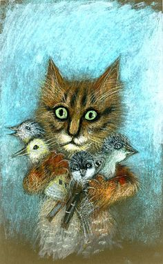 Józef Wilkon – Kot z wróblami, 1984 by laura@popdesign, via Flickr