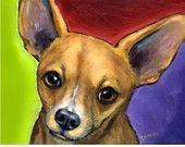 Items similar to Chihuahua on Bright Background Dog Art Print of Original Painting by Dottie Dracos on Etsy Chihuahua Terrier Mix, Chihuahua Art, Small Canvas Paintings, Dog Paintings, Background Dog, Bright Background, Akita, Dachshund, Dog Portraits