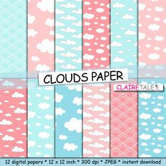"""Check out Clouds digital paper: """"CLOUDS PAPER"""" with clouds and sky patterns in light pink and blue shades / pastel clouds on clairetale"""