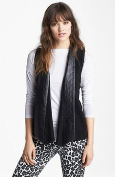 Nordstrom Quilted Faux Leather Trim Vest available at #Nordstrom..  Sometimes you get the designer look for way less if you really shop around