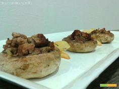 Funghi gratinati ripieni di salsiccia  #ricette #food #recipes