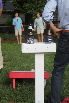 Built in beer-stands for corn-hole...I will have these in my backyard one day. Via northcarolinacharm.com