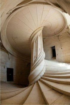 """centuriespast: """"This Incredible spiral staircase inside the Château de La Rochefoucauld Castle in France, was designed by Leonardo da Vinci in the year 1516. """""""