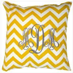 Monogrammed Throw Pillow - Yellow Chevron