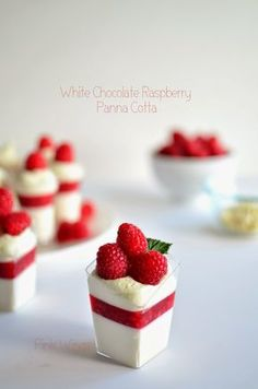 White Chocolate Raspberry Panna Cotta made with Plain Chobani Greek Yogurt.
