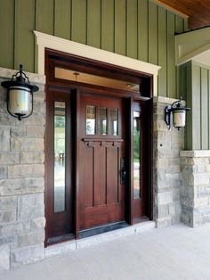 Front Door Paint Colors - Want a quick makeover? Paint your front door a different color. Here a pretty front door color ideas to improve your home's curb appeal and add more style! Design Exterior, Door Design, Style At Home, Craftsman Door, Craftsman Style Front Doors, Craftsman Houses, Craftsman Interior, Craftsman Kitchen, Craftsman Bungalows