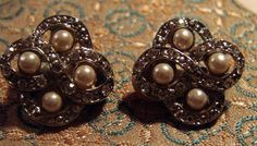 Elegant Rhinestone and Pearl  Earrings Clip by AntiqueAlchemists, $10.00