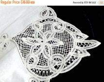 RESERVED for Assya A: 100% Cotton & Lace Tablecloth, Vintage Ivory Lace Tablecloth, Table Linen,  Dining Room Decor, Vintage Cotton/L
