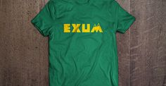 "Green and yellow ""Exum"" tshirt for #11 Dante Exum of the NBA Utah Jazz. The mountain in the M represents his career in Utah, and the green/yellow is for both the Australian FIBA colors and Jazz colors. He's the wonder from down under! (tshirt design by DimesAlign)"