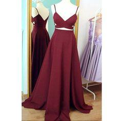 Prom dress long, A-line Straps Burgundy Sexy Prom Dress Evening Dress MK504