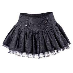 Queen of Darkness Tule mini rok met ornament print en kettingen zwart