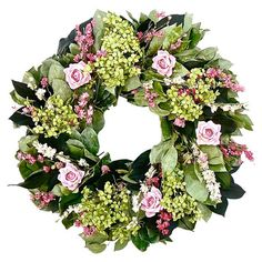 Bring natural appeal to your entryway or living room with this lovely wreath, featuring an artful arrangement of dried and faux blossoms, greenery, and twigs...
