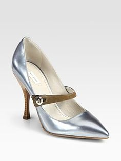 Marc Jacobs - Runway Metallic Leather Point-Toe Mary Jane Pumps