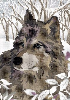 WINTER WOLF ~ No Count cross stitch kit ~ RARE