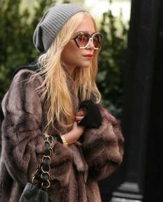 Slouchy beanies + Tom Ford shades.