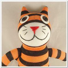 Handmade Sock Cat Kitty Stuffed Animal Doll