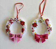 Mini wreath,Christmas ornaments,Christmas mini wreath ornaments,Unique Wreath ornaments (set of by GiftycraftyArt on Etsy Christmas Centerpieces, Christmas Decorations, Holiday Decor, Christmas Ornament Wreath, Christmas Wreaths, Christmas Minis, Big Project, Xmas Crafts, Tassels
