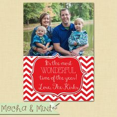 Red and White Chevron Photo Christmas Card by MochaAndMint