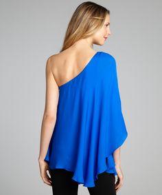 Jay Godfrey cobalt silk one shoulder flutter sleeve 'Howell' blouse | BLUEFLY up to 70% off designer brands