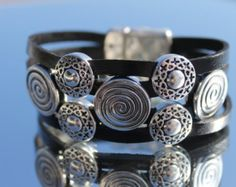 Leather Bracelet 49Ladies Bracelet Handmade by Charmecharmant