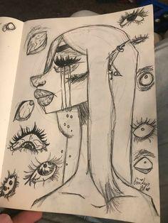 Cool Art Drawings, Art Drawings Sketches, Sketch Art, Desenho Do Star Wars, Arte Grunge, Trash Art, Arte Sketchbook, Funky Art, Hippie Art