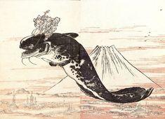 河鍋暁斎:富士越の鯰(「暁斎漫画」より)