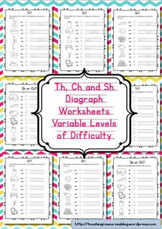 Diagraph Worksheets Th, Ch and Sh  Free Phonics Worksheets Suitable For KIndergarten and Grade One