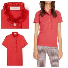 NEW Tory Burch Polo New Tory Burch polo with signature ruffle around the collar and metallic gold TB logo buttons down the neck. Cotton piqué with a bit of stretch. Color is a lipstick red. Size XL but runs like a L in my opinion. Please ask questions before buying, no returns. Tory Burch Tops