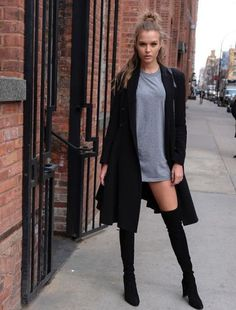 Just a pretty style | Latest fashion trends: Model street style | Grey shirt dress with coat and over the knee boots
