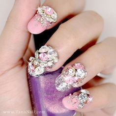 Japanese 3D Nail Art, Press On Nails, False Nails - Rhinestone & Metal 3D Decoration with Pink Polish (T117N)